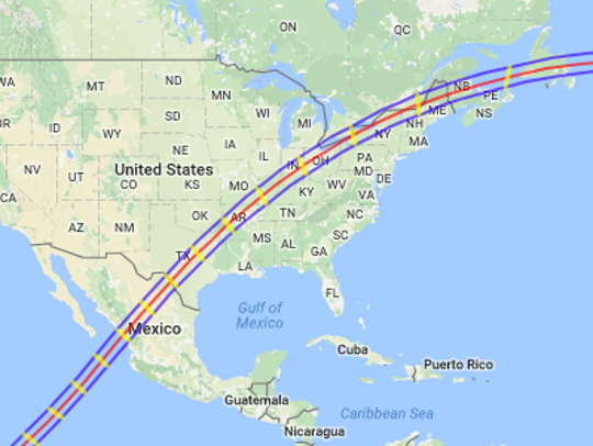 The path of the 2024 solar eclipse.