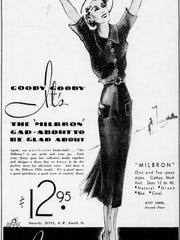 "An ad for the ""Milbron"" dress, exclusive to the Jenny Co. store on West Fourth Street, appearing in The Enquirer in 1936."