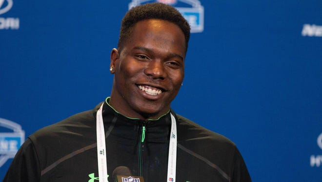 Louisiana Tech defensive lineman Vernon Butler speaks to the media during the 2016 NFL Scouting Combine at Lucas Oil Stadium. Mandatory Credit: Trevor Ruszkowski-USA TODAY Sports