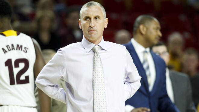 ASU head coach Bobby Hurley reacts to a call in the first half against Cal Poly at Wells Fargo Arena in Tempe on Sunday, Nov. 13, 2016.