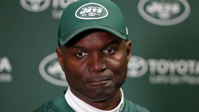 New York Jets head coach Todd Bowles responds to questions during a news conference after an NFL football game Sunday, Sept. 10, 2017, in Orchard Park, N.Y. The Bills won 21-12. (AP Photo/Jeffrey T. Barnes)