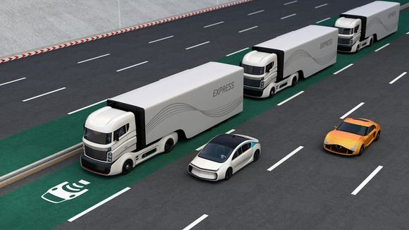 Computer rendering of autonomous trucks traveling in a convoy.