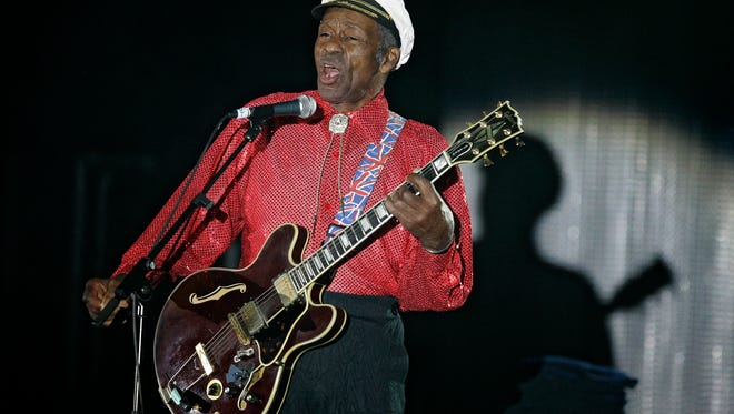 """American guitarist, singer and songwriter Chuck Berry, performing here in March 2009 at the """"Rose Ball"""" in Monaco, died at 90 at his home outside St. Louis."""
