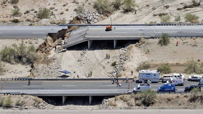 Water from a storm caused a bridge on eastbound Interstate 10 in California to collapse Sunday, raising concern about bridges elsewhere.