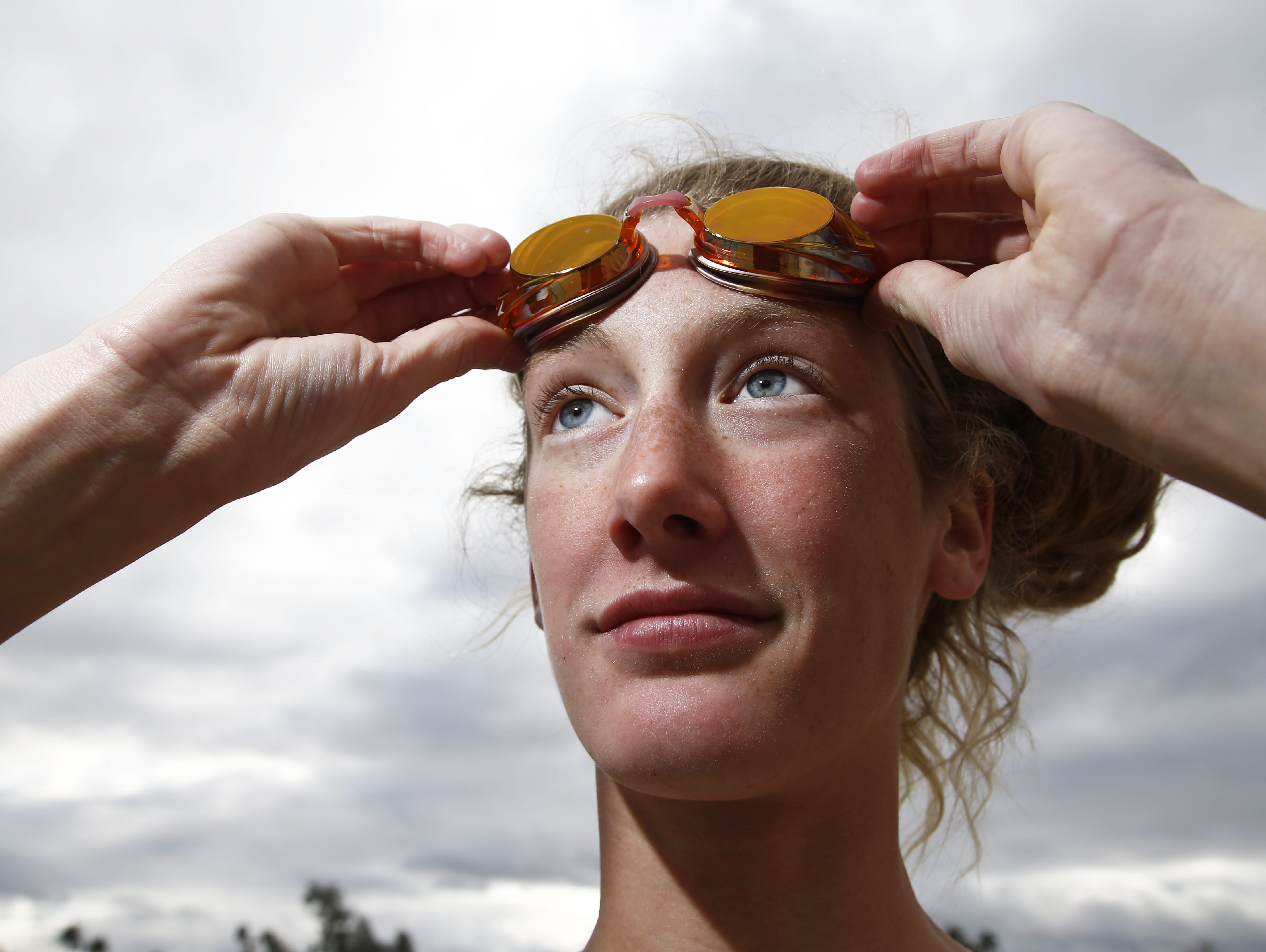 Chaparral sophomore swimmer Taylor Ruck at Scottsdale Aquatic Center in Scottsdale, Ariz. Ruck is expected to make the Olympic Swim Team for Canada next summer.