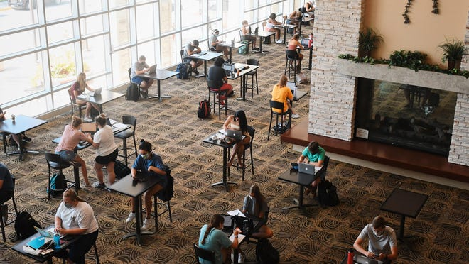 Students study in the MU Student Center on Aug. 24.