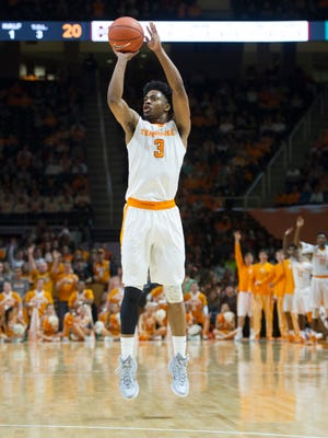 Tennessee's Robert Hubbs III shoots a 3-pointer against Mississippi State on Saturday at Thompson-Boling Arena.