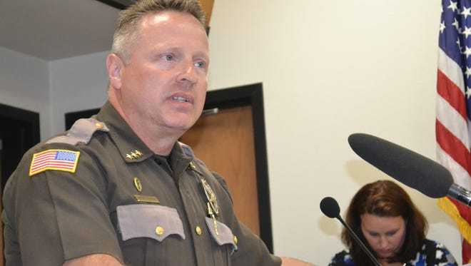 Mason County Sheriff Casey Salisbury testified before the Mason County Board of Commissioners, Tuesday, July 18, 2017, on mid-year cuts to the sheriff's office. The sheriff's office will not fill 10 deputy and support staff positions due to a cut of more than $800,000.