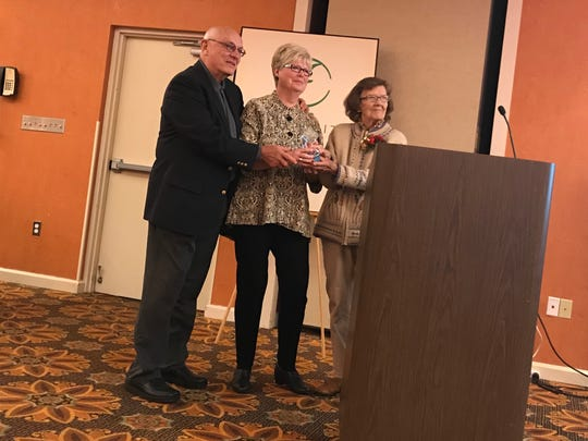 Gathering Tree and Eden Village co-founders Dr. David and Linda Brown were presented by the 2017 Humanitarian Award by Jewell Schweitzer, who created the award back in 1990.