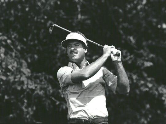 Dan Pohl, American professional golfer hits a shot at the Memorial Tournament at Dublin, Ohio in 1985.