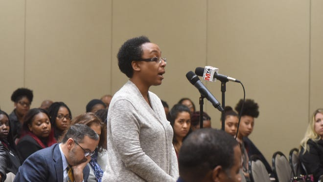 Dr.Camille Alexander takes the microphone as William Paterson University is holding a town hall-style forum on diversity in the wake of this week's controversy over a sorority sister's use of a racial slur in a Snapchat video that went viral.