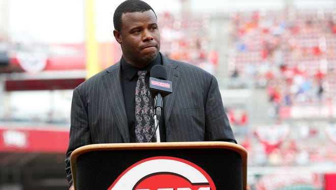 Ken Griffey Jr. addresses fans during the Cincinnati Reds Hall of Fame induction at Great American Ball Park on Aug. 9.
