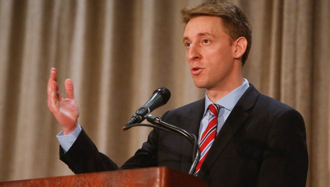 Jason Kander speaks during the Missouri Press Association Candidate Forum Sept. 30 at the Chateau on the Lake Resort in Branson.