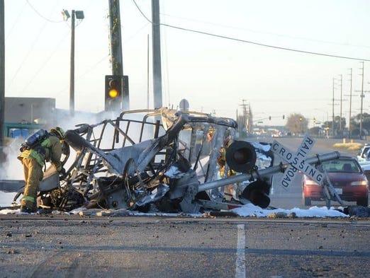 Debris on railroad tracks in Oxnard in the aftermath