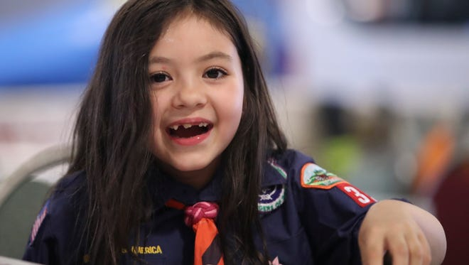 """Alexandra """"A.J."""" Gardner, 6, of Middletown was the first girl in Delaware to join a Cub Scout group."""