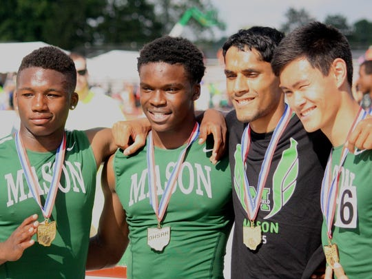 Bryson White, left, won a state title in track while at Mason High School.