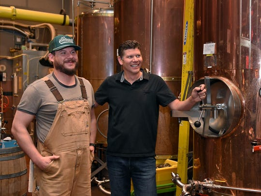 Greg Hinge, right, brewmaster of the Brew Brothers in the Eldorado, and brewer Aaron Halecky take a moment during their preparations for the Eldorado's annual Brew Fest, June 16-17 in downtown Reno.
