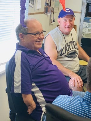 Pictured are Leon Groover and Canton Mayor, Kent McDowell. McDowell and others gathered Friday to help Groover celebrate his last day on the air at WBYS.