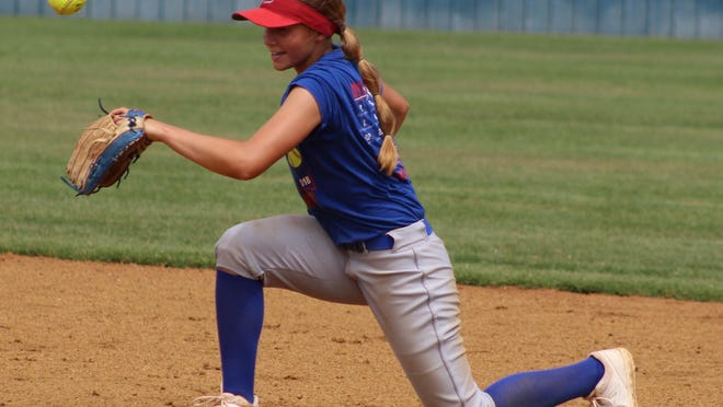 Durant junior standout Abi Gregory prepares to receive a throw at second base and put the tag down on an attempted stolen base. Gregory has been a workhorse much of the season in the pitching circle with a 6-2 record.