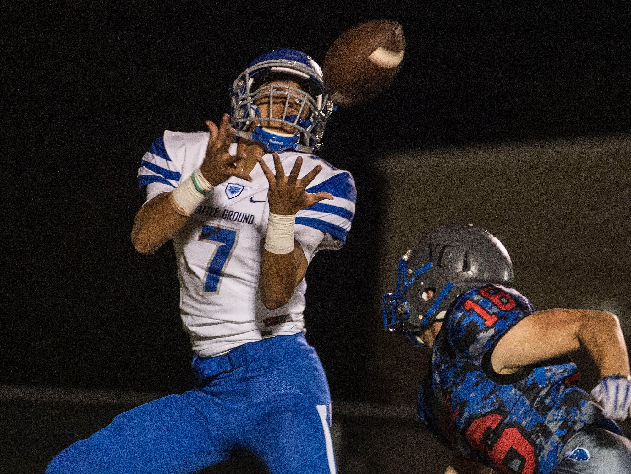 BGA's Marcus Cawthorn catches a touchdown for BGA at Page High School on Friday.