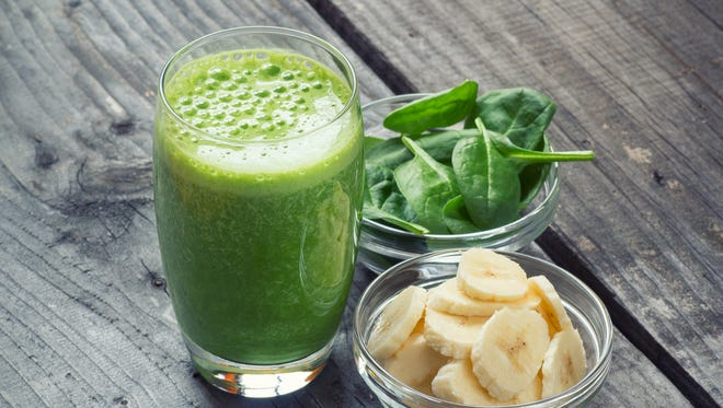 Begin your day with a fruit smoothie — but add a handful of spinach, kale or Swiss chard. Your drink will be jam-packed with the benefits of fruit and vegetables, and the sweetness of the fruit is the flavor you're left with.