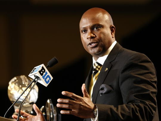 Purdue head coach Darrell Hazell speaks to the media