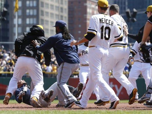 Pirates vs. Brewers, April 20, 2014.