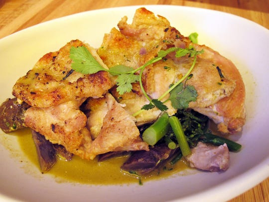 Pan roasted chicken with broccolini, heirloom potatoes