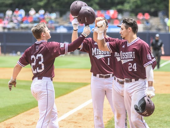 Missouri State outfielder Jack Duffy (23) hits a three