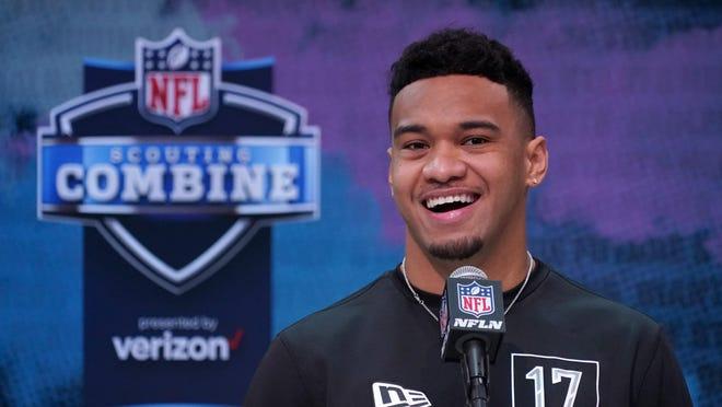 Alabama quarterback Tua Tagovailoa appears at the NFL Combine in Indianapolis.
