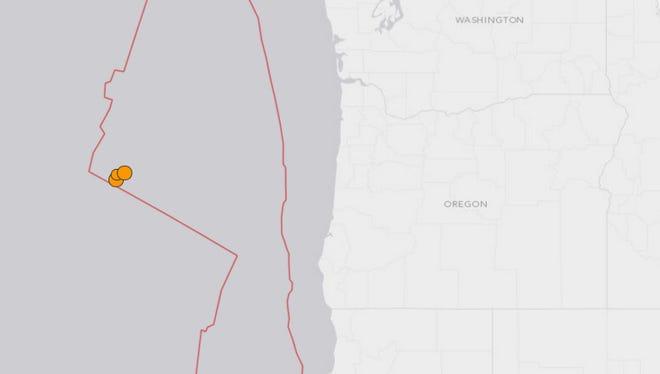 Earthquake off the coast of Oregon