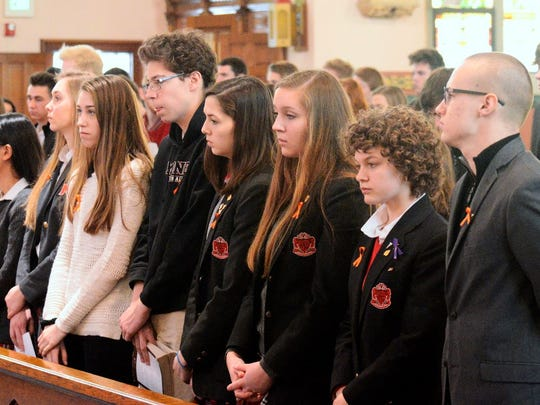 Students at Cardinal Mooney Catholic High School in Marine City, Michigan, held a prayer service and discussion in honor the victims of the school shooting at  Marjory Stoneman Douglas high School last month.