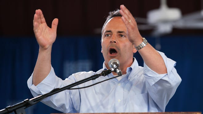 Republican gubernatorial candidate Matt Bevin delivers a speech at the Fancy Farm picnic.Aug. 1, 2015