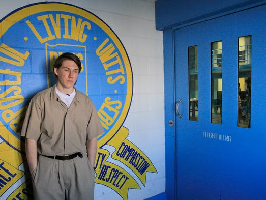 Colt Lundy, the co-defendant in the Kosciusko murder of Phil Danner, waits outside the wing to his cell block at the Wabash Valley Correctional Facility, Thursday, Feb. 13, 2014. Lundy was Danner's stepson. He and Paul Gingerich shot Danner twice each. Gingerich was 12 at the time; Lundy was 15. They both pleaded guilty and got 25-year sentences.