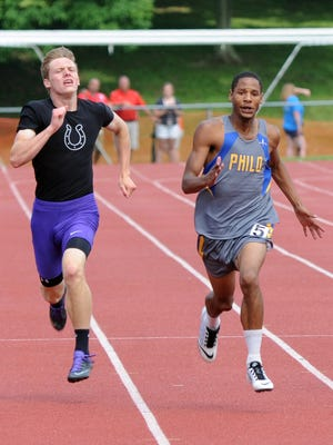 Philo's Dasean Goldsmith competes in the 200-meter dash at Saturday's Division II Regional Track and Field Tournament at Muskingum University in New Concord. Goldsmith finished first in the event.