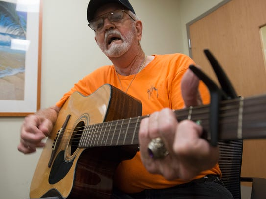 Veteran Frank Thornhill, belts out a tune during a