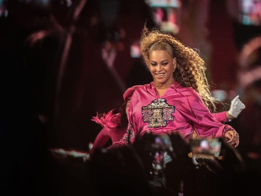 Beyonce performs during the Coachella Valley Music and Arts Festival at the Empire Polo Club, in Indio, Calif, April 21, 2019.