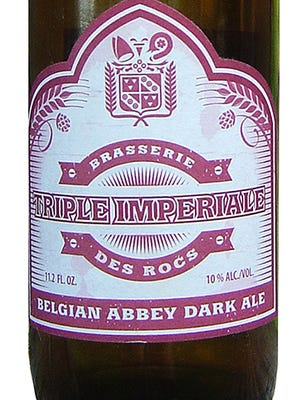 Triple Imperiale, from Brasserie des Rocs in Montignies-sur-Roc, Belgium, is 10% ABV.
