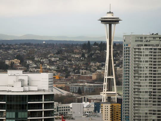 The Space Needle is shown Wednesday, Feb. 17, 2016,