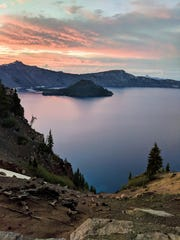 There are no beaches on Crater Lake. In fact there