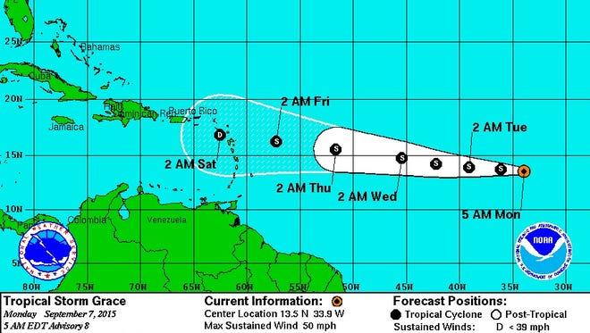 Tropical Storm Grace Monday, Sept. 9