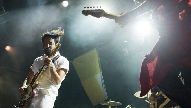 Young the Giant performs March 3, 2107, at the Okeechobee Music and Arts Festival. This is the second year for the four-day event, which also features musical acts Kings of Leon, Usher and The Roots, The Lumineers and Bassnectar.