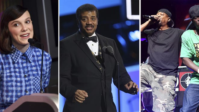 From left, Millie Bobby Brown, from left, Neil deGrasse Tyson and Public Enemy's Chuck D and Flavor Flav.