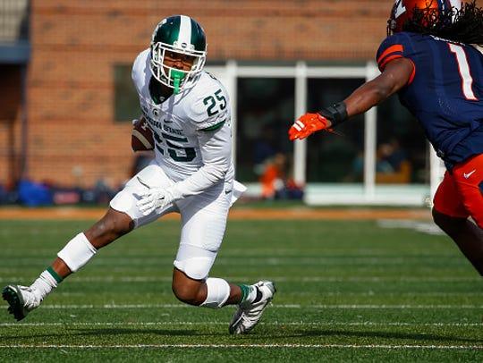 MSU sophomore receiver Darrell Stewart Jr. (25) will