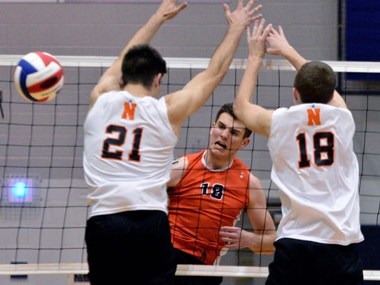 Cole Johnson of Central York drives a kill past Cole