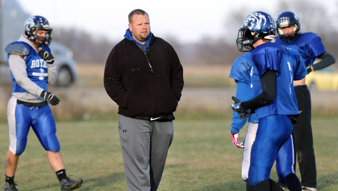 FILE - Eastern Hancock High School head football coach Pat Echeverria took the same position at Zionsville.