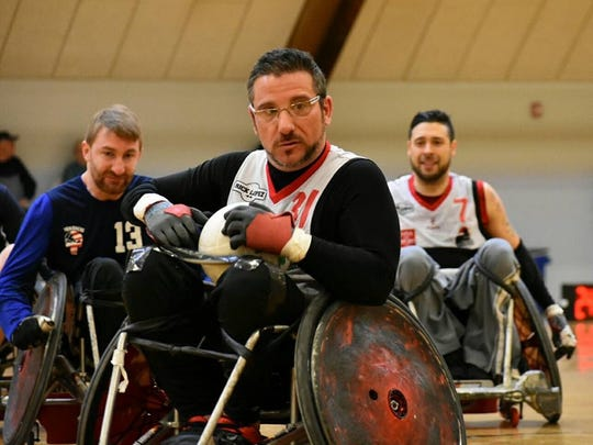 Matt Castelluccio of White Plains plays adaptive rugby. Castelluccio, 41, became paralyzed in a motorcycle accident in 2003. Despite no leg function and very little arm function, he plays adaptive rugby and softball.
