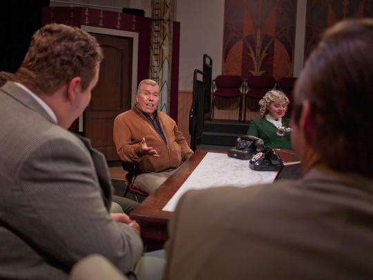 """Movie producer Patrick Curtis, known for his role in """"Gone With The Wind,"""" speaks with the cast of St. George Musical Theatre's upcoming production of """"Moonlight and Magnolias"""" on Tuesday, Feb. 24, 2015."""