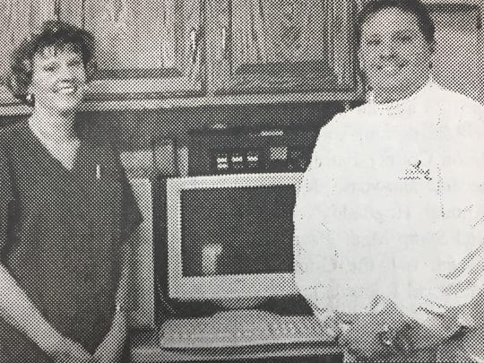 United Community Bank donated two computers to Sturgis Rest Home in April 2005. Pictured left is Sturgis Rest Home Administrator Joanie Collins with UCB employee Mike Stone.