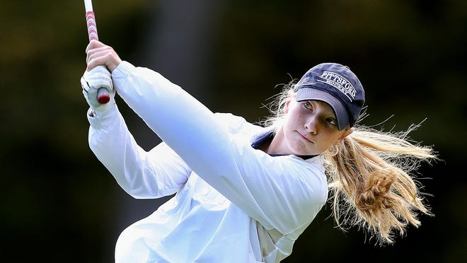 Pittsford's Morgan Bronstein hits from the 18th tee. Bronstein made the Section V state team.